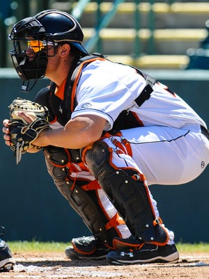 Shorebirds catcher Alex Murphy readies to catch a pitch during a 2014 home game at Arthur W. Perdue Stadium.