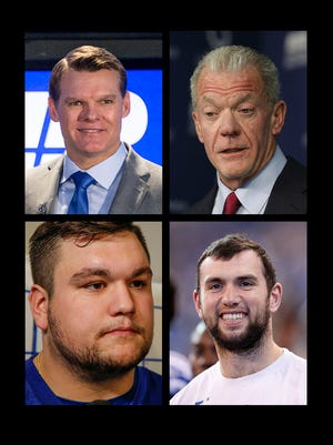 Clockwise from top left corner: Colts GM Chris Ballard, Colts owner Jim Irsay, Colts quarterback Andrew Luck, Colts first-round draft pick Quenton Nelson