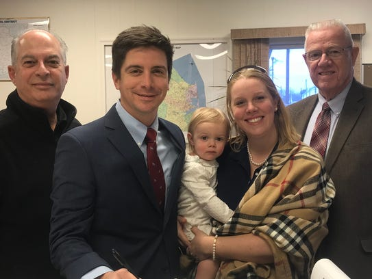 Milford Mayor Bryan Shupe, left, filed his candidacy papers to run for the House District 36 seat, held by retiring Rep. Havey Kenton, right. Also pictured are state Rep. Danny Short, R-Seaford; Shupe's 17-month-old daughter, Evelyn, and his wife, Sherry.