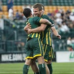 Colin Rolfe, right, scored a pair of goals in the Rhinos first two preseason matches last weekend.