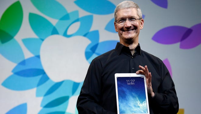 Apple CEO Tim Cook introduces the new iPad Air on Tuesday in San Francisco.