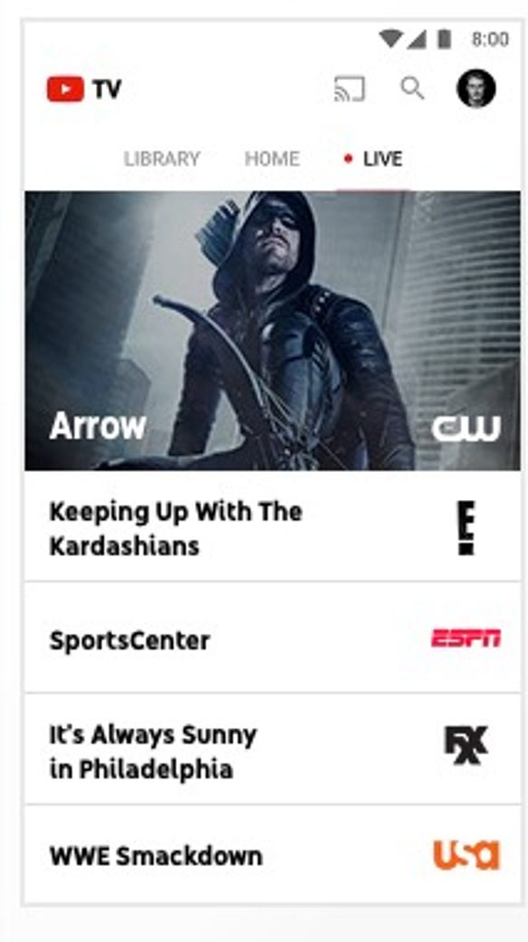 Screen shot of YouTube's upcoming YouTube TV service