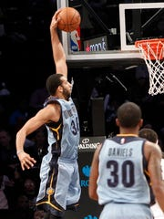 Feb 13, 2017; Brooklyn, NY, USA;  Memphis Grizzlies forward Brandan Wright (34) makes a basket in the fourth quarter against Brooklyn Nets at Barclays Center.  Grizzles win 112-103.  Mandatory Credit: Nicole Sweet-USA TODAY Sports