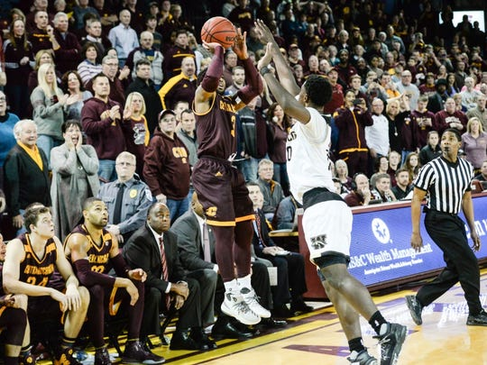 Marcus Keene lets fly the winning 3-pointer with 5 seconds left in CMU's win over rival WMU earlier this month.