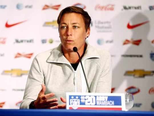 USA forward Abby Wambach addresses the media at the USA women's national soccer team media day.