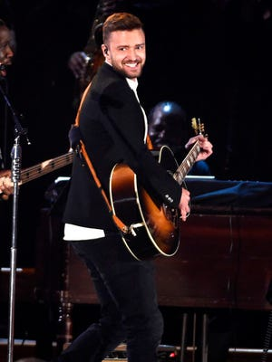 FILE - In this Nov. 4, 2015, file photo, Justin Timberlake performs at the 49th annual CMA Awards in Nashville, Tenn. Timberlake will headline the next Pilgrimage Music & Cultural Festival on Sept. 23 and Sept. 24.