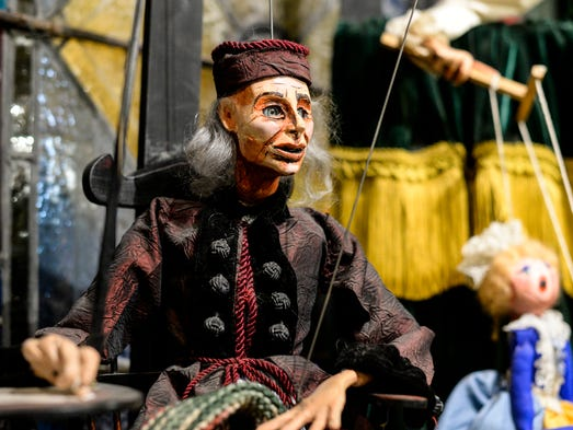 A marionette of John Durang who is considered the first