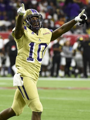 Alcorn State wide receiver Marquis Warford (10) scored three touchdowns, rushed for 120 yards and caught three passes for 58 yards in the Braves' 49-21 victory against Grambling.