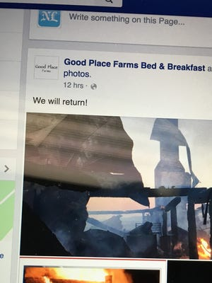 Good Place Farms' Facebook page today includes the promise to rebuild.