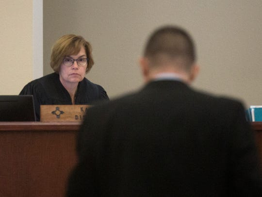 District Chief Judge Karen Townsend listens to Deputy District Attorney Michael Sanchez speak Thursday during a murder trial for Rick Stallings at Aztec District Court.