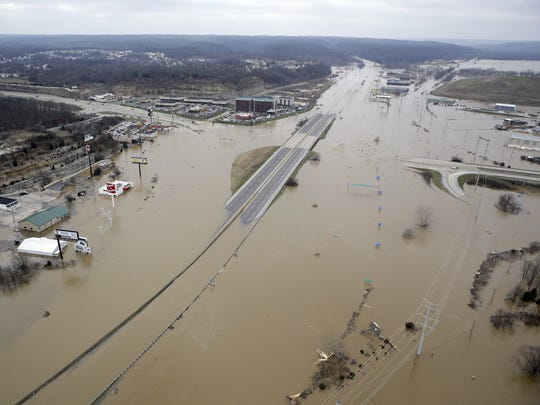 Floodwaters cover Interstate 44 in Valley Park, Missouri,