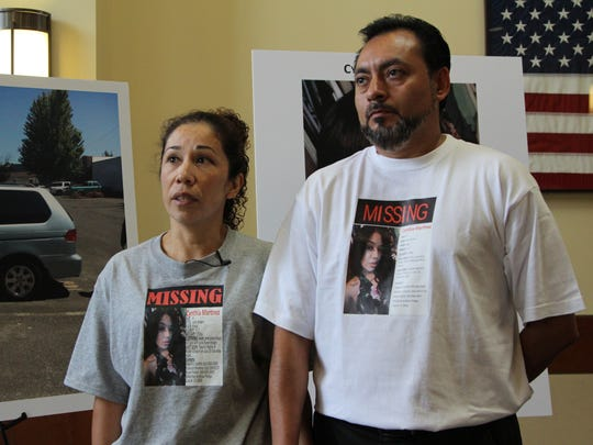 Angelica Castillo and Cesar Castillo, Cynthia Martinez's mother and stepfather, speak with the media at the Keizer Police Department on Wednesday, August 9, 2017.