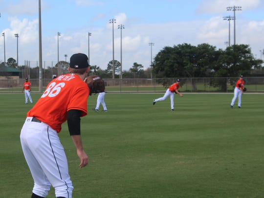 The Marlins practice at Roger Dean Chevrolet Stadium on Wednesday afternoon. A new and exciting look for the club is expected this year.