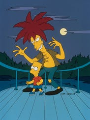 Sideshow Bob, right, terrorizes, Bart, as usual, in
