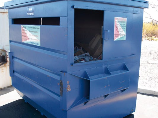 A 6-cubic yard recycling dumpster costs a business about one-third the cost of a solid waste (trash) dumpster to service; businesses should consider recycling to lower their trash bills.