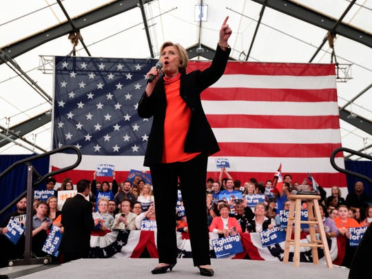 Democratic presidential candidate Hillary Clinton leads a rally Friday in Syracuse.