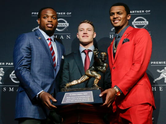 Heisman Trophy finalists, from left, Alabama's Derrick
