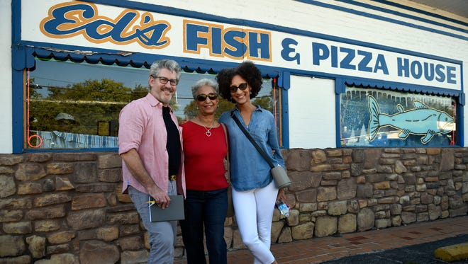 Jim Myers, Audrey Hall and celebrity chef Carla Hall enjoy their adventure searching for Nashville's best fish sandwich.