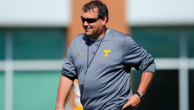 Tennessee Defensive Line Coach Brady Hoke during Tennessee Volunteers spring practice at Anderson Training Facility in Knoxville, Tennessee on Tuesday, April 4, 2017.