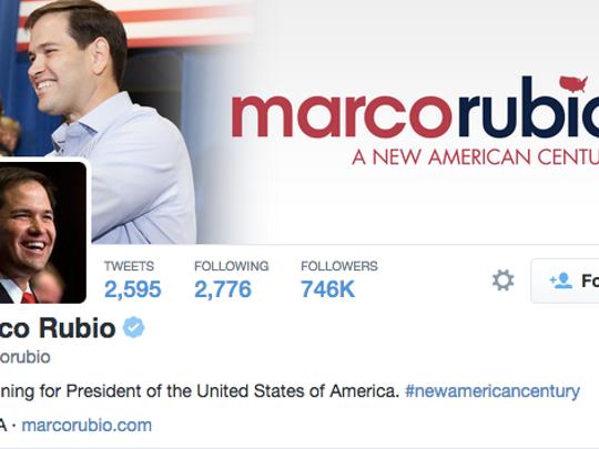 Screen shot of Marco Rubio's Twitter account on June 13, 2015.