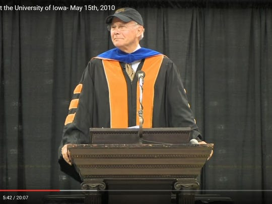 "This screenshot shows former ""NBC Nightly News"" anchor Tom Brokaw delivering the 2010 commencement address at the University of Iowa. Brokaw recently donated his papers and memorabilia to UI Libraries."