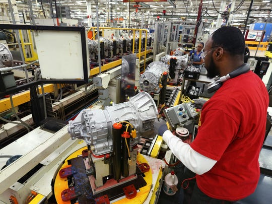 Tony Elliott, an employee at Allison Transmission for 4 1/2 years, assembles transmissions in the company's manufacturing plant on West 10th Street on Friday, Oct. 16, 2015. The company, which turned 100 on Sept. 14, employs 2,500 in Indianapolis (about 1,500 hourly and 1,000 salaried) and 300 overseas.