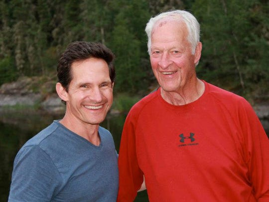 """Dr. Murray Howe with his father Gordie Howe. From the book,  """"Nine Lessons I've Learned from my Father"""" by Dr. Murray Howe."""
