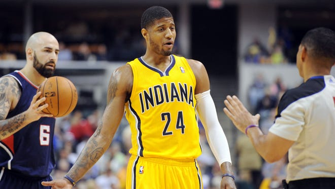 Paul George discusses a call with refree Bill Kennedy. The Indiana Pacers hosted the Atlanta Hawks in NBA action Sunday April 6, 2014 at Bankers Life Fieldhouse.