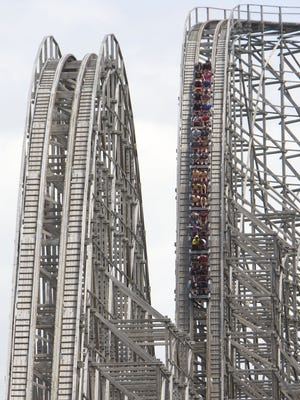 The El Toro roller coaster at Six Flags Great Adventure in Jackson drops 176 feet at a 76-degree angle.