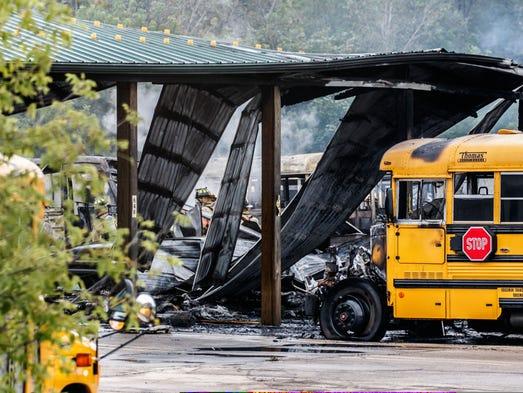 Fire destroys 34 buses, bus barn at Dousman Transport