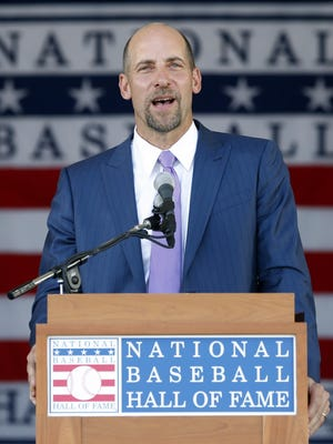 National Baseball Hall of Fame inductee John Smoltz speaks during an induction ceremony at the Clark Sports Center on Sunday in Cooperstown, N.Y.