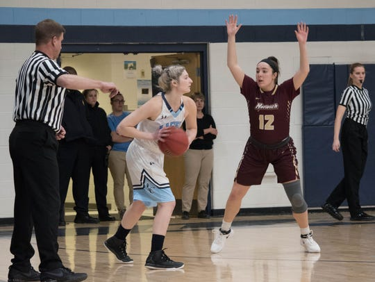 Brianna Hoffman looks to make an inbounds pass for the Lasell College women's basketball team in a Jan. 16 game against Norwich.