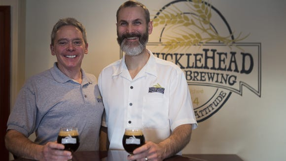 Knucklehead Craft Brewing co-owners Len Dummer, left,