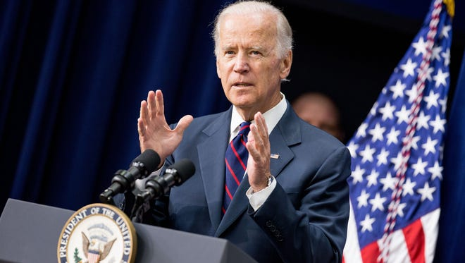In this Monday, Sept. 21, 2015, file photo, Vice President Joe Biden speaks at a White House Champions of Change Law Enforcement and Youth meeting, in the South Court Auditorium of the Eisenhower Executive Office Building on the White House complex in Washington. CNN said Monday, Sept. 28, 2015, it will allow Biden to participate in the first Democratic presidential primary debate even if he decides that day to be a candidate.