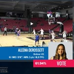 Bolivar senior basketball player Aleena DeRossett is in an Internet contest that could result in her winning a trip to Houston, Texas during the NCAA Final Four.