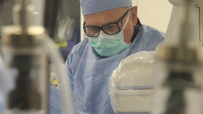 Surgeon Ray Vetsch performs the TAVR surgery on a patient at Freeman Health System. Photo provided