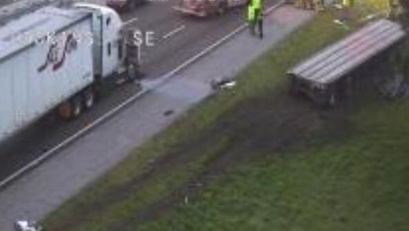Lanes of traffic were blocked Tuesday morning after a crash on I-95 near Port St. John.