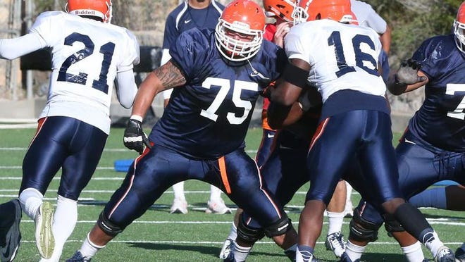 """""""UTEP offensive lineman Derek Elmendorff, 75, says the offensive line has to get back to basics to improve the running game."""