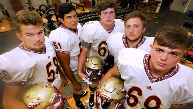 Riverdale's veteran offensive line includes (l-r) Ben Thompson, Jordan Cordoba, Nick Peterson, Will Priddy and Nate Taylor.
