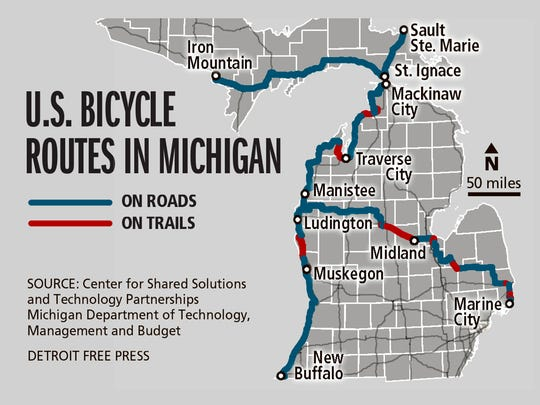 New Michigan Bike Route On Us 2 - Us-bicycle-route-50-map