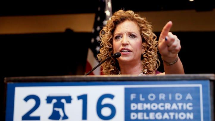 Debbie Wasserman Schultz speaks at the Florida delegation