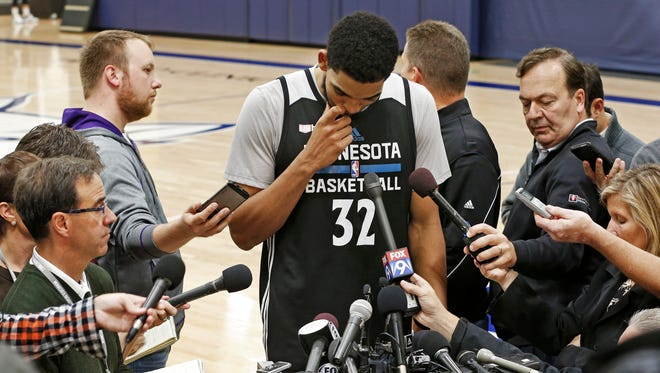 Karl-Anthony Towns composes himself as he talks to reporters on Monday about Flip Saunders.