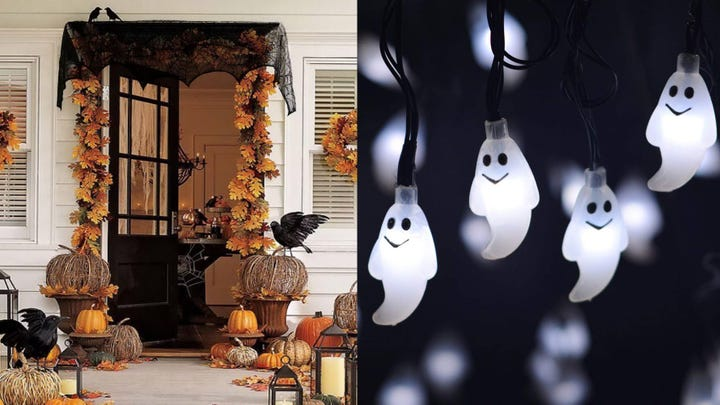 Outdoor Halloween decorations and spooky ghost string