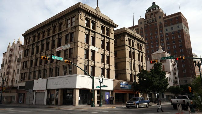 The 106-year-old Roberts-Banner Building, in foreground, at Mesa and Mills streets is to be renovated into offices and ground-floor retail spaces. The building, designed by iconic El Paso architect Henry Trost,  is  across from San Jacinto Plaza in Downtown.