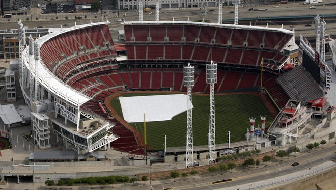An aerial view of the Great American Ball Park, which will host the 2015 Major League Baseball All-Star Game.