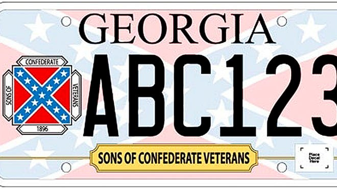 The Confederate battle flag appears on a specialty license plate in Georgia. In the wake of the shootings in Charleston, S.C., on Wednesday, June 17, 2015, there are calls to remove the symbol from state capitols and license plates.