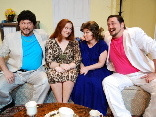 "Olive (Caroline V. Sturtz) and Florence (Theresa Davis), entertain the dashing Costazuela brothers (M. Derek Nieves & Krystof Kage) in ""The Odd Couple"" at Theatre Tallahassee."