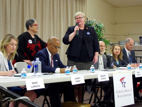 Democrat Marty Walters speaks at a previous Redding