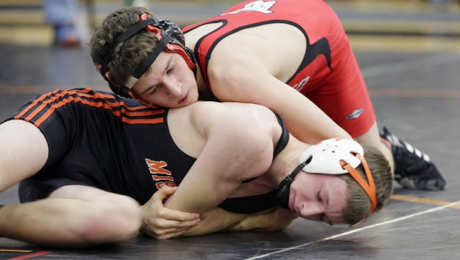 Valders' wrestler Luke Oltmanns, top, is this week's HTR Prep Profile.