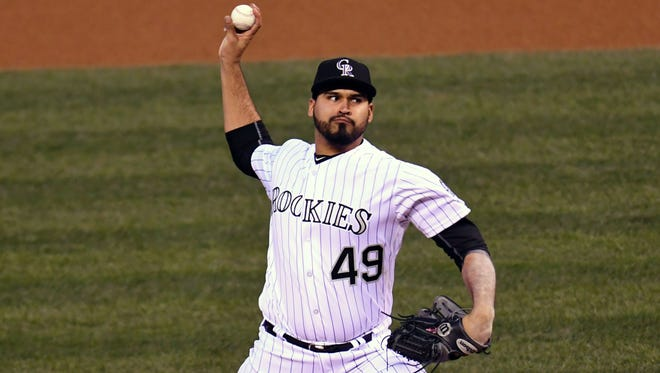 Colorado Rockies starting pitcher Antonio Senzatela delivers a pitch against the San Diego Padres.